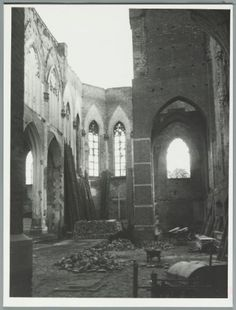 A bridge too far. St. Walburgis church, Arnhem, The Netherlands. Interior of the church destroyed in the Battle of Arnhem. Oct. 17th, 1948.