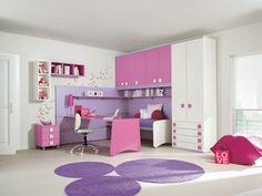 cuarto de niña rosa y lila