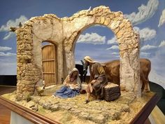 me ~ Para nuestro nacimiento 2019 Christmas Crib Ideas, Christmas Nativity Set, Miniature Christmas, Christmas Fun, Christmas Houses, Christmas Villages, Diorama, Jesus Christ Painting, Warhammer Terrain