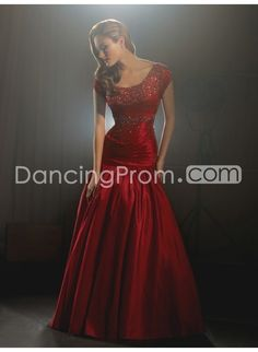 Luxurious Taffeta A-line Capped Sleeves Floor-length Prom/Evening Dresses