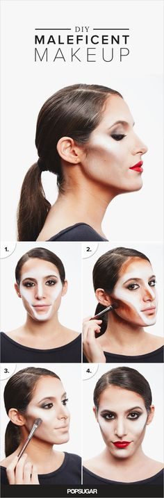 Whether you've decided to be Maleficent or Kim Kardashian this Halloween, you'll need to be a master of extreme contouring. Apply white grease-based makeup like Flash Color Pot in White ($19) to outline the cheekbones, chin, nose, and brows (similar to how you would use highlighter).