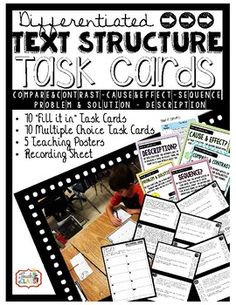 Informational Text Structure Task Cards & Teaching Posters / Anchor Charts RI4.5