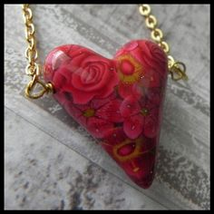 Valentine Necklace Handmade Polymer Clay by LavaGifts on Etsy, $22.00