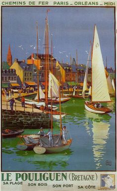 Vintage Railway Travel Poster - Le Pouliguen - Bretagne - by Charles Halo.