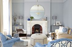 Dazzling mirrored console table in Living Room Transitional with Picture Rail next to Painted Stair Railing alongside Blue Living Room and Wall Colors For Living Room Living Room Colors, Living Room Grey, Living Room Designs, Living Room Decor, Dado Rail Living Room, Living Spaces, Room Interior, Interior Design, Interior Colors