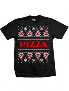"""Men's """"Pizza"""" Christmas Tee by Cartel Ink (Black) #inkedshop #pizza #christmas #pepporoni"""