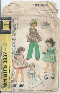 Dress, Pinafore, Top & Pants - Size 6 Months - Vintage McCall's Pattern 3837 - 1973 by LouisasNeedle on Etsy