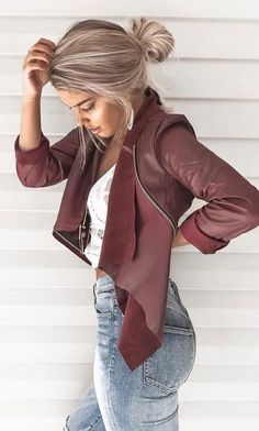 #fall #outfits Burgundy Leather Jacket + Skinny Jeans