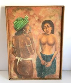 Antique Fine Portraits Indian Tribal Nude Couple Beautiful Oil Canvas Painting #ArtDeco