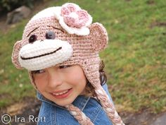Pink Sock Monkey Hat with Crocheted Flower for Girl