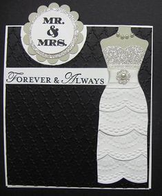 Lynn's wedding card is stunning! She used Label Love, Loving Thoughts, Dress Up Framelits, Delicate Designs embossing folder, & more.