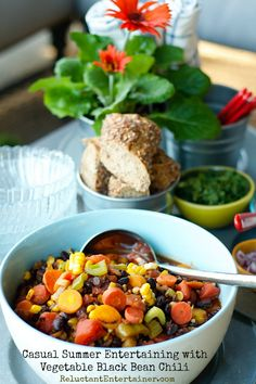 Vegetable Black Bean Chili | reluctantentertainer.com #vegetarian