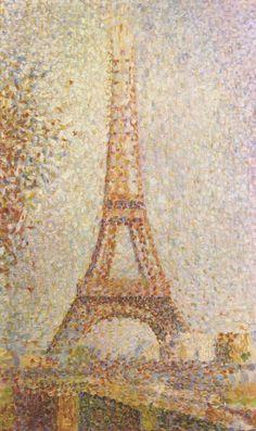 Georges Seurat.  La Tour Eiffel. 1889, Öl auf Leinwand, 24 × 15,2 cm. San Francisco, Fine Arts Museum. Pointillismus. Frankreich. Neo-Impressionismus.  KO 00858