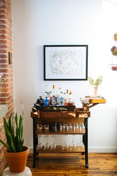 The perfect industrial wooden bar cart!