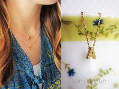 Anfängliche Halskette Silber oder Gold Großbuchstaben von TomDesign