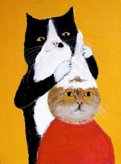 cat beauty salon by pepe shimada. tons of cat art here I Love Cats, Crazy Cats, Chat Web, Photo Chat, Art Et Illustration, Here Kitty Kitty, Collage, Cat Drawing, Art Design