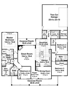 Floor Plans AFLFPW09324 - 1 Story Country Home with 4 Bedrooms, 3 Bathrooms and 2,418 total Square Feet