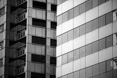 windows of business building with bw color