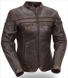 Women's Brown Leather Touring Motorcycle Jacket with Sleeve & Pocket Vents - First Mfg Co.