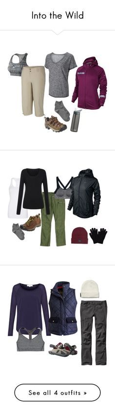 """""""Into the Wild"""" by chanabaines ❤️ liked on Polyvore featuring Keen Footwear, NIKE, Columbia, Gap, CamelBak, jacket, Hiking, activewear, capris and merrel"""