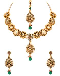 Maang Tika Necklace Set with Red Stone, Gold Plated Pear Drop Pendant #NecklaceSet