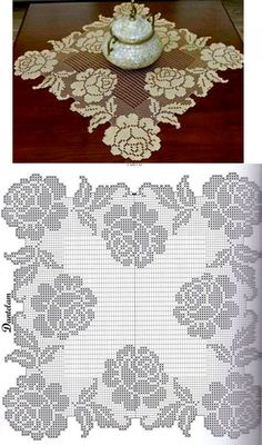 Charming napkin with roses - loreen Art Au Crochet, Crochet Cross, Crochet Home, Crochet Table Runner, Crochet Tablecloth, Crochet Doilies, Crochet Motif Patterns, Filet Crochet Charts, Fillet Crochet