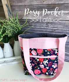 Fort Worth Fabric Studio: Posy Pocket Tote Tutorial. Fabric: Posy Garden designed by Carina Gardner for Riley Blake Designs
