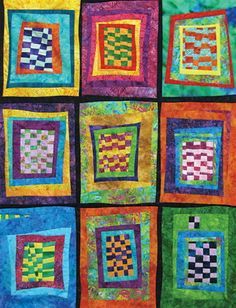 "~ free pattern ~ Paradise, 32 x 42"", an improvisationally pieced quilt featuring log cabin style piecing.  Pattern by Jean Wells, Terri Kirchart, and Jody Rusconi."