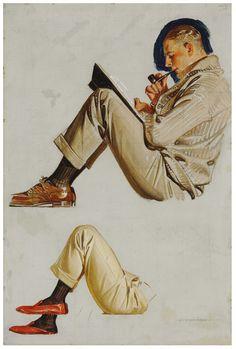 Joseph Christian Leyendecker (1874-1951) Study for 'Interwoven Socks' 1922.