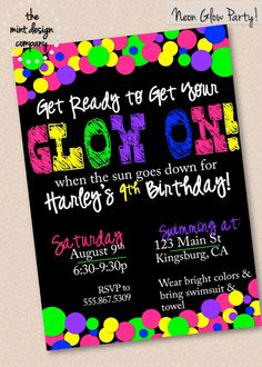Neon Glow In The Dark Party Invitation // by themintdesigncompany, $15.00 www.themintdesigncompany.com