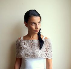 PDF crochet pattern lacy capelet  shrug shawl bride wedding loop flower neckwarmer  - DIY tutorial - Quick and easy gift