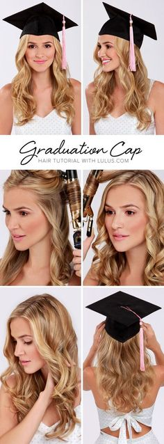 Lulus How-To: Graduation Cap Hair Tutorial Keep your hair perfectly in place wit. - Lulus How-To: Graduation Cap Hair Tutorial Keep your hair perfectly in place with our LuLu*s How-To - Hat Hairstyles, Trendy Hairstyles, Easy Hairstyle, Hairstyle Tutorials, Hairstyle Ideas, Easy Updo, Amazing Hairstyles, Style Hairstyle, Medium Hairstyles