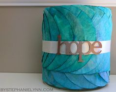 Marker Dyed Coffee Filter Wrapped Hurricane Candle Centerpiece - Light it Up Blue ~ Autism Awareness Day