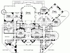 Luxury Castle Floor Plans | Archival Designs Luxury Castle House Plan Balmoral First Floor Plan