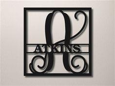 Square Vine Monogram Initial & Family Name