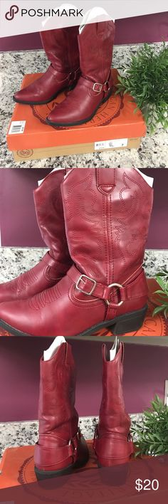 Red Boots MAN MADE. Very cute and stylish boots! 💡➡️➡️ *offers welcomed* Sogammared Shoes Heeled Boots
