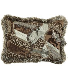 spa green and milk chocolate pieced rectangle pillow with brush fringe and embellishments