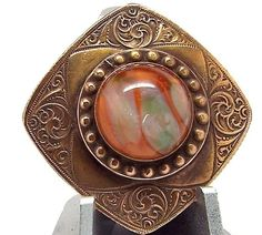 """beautiful antique """"gay 90's"""" button, cabochon jewel center"""
