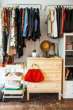 How To Cheat Your Way To A Killer Closet #refinery29  http://www.refinery29.com/closet-makeover-ideas#slide-14  After:  The varying shades of natural wood, white, and cream keep the look cohesive — and let my bright accessories stand out.