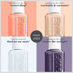 The new Essie Resort Fling 2014 collection is infused with three delectable pastels and a bold hue to to add the perfect amount of flare to nails as they Dancing In The Dark, Nail Candy, Essie Nail Polish, Mani Pedi, Hair And Nails, Perfume Bottles, Makeup, Beauty, Manicures