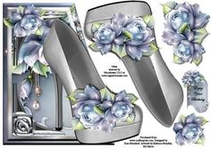 Starlite Shoe Edgy on Craftsuprint designed by Kim Blundred - This design sheet has a shaped card front and decoupage layers. The main feature is an over-the-edge shoe topped with florals.Beautiful in blue and silver tones. - Now available for download!