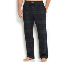Polo Ralph Lauren Men's Plaid Flannel Pajama Pants ($38) ❤ liked on Polyvore featuring men's fashion, men's clothing, men's sleepwear, blackwatch, mens flannel sleepwear, preppy mens clothing, mens sleep pants, men's apparel and mens clothing