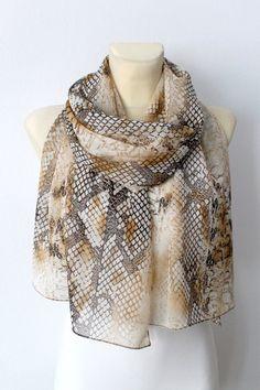Snake Skin Printed Silk Scarf - Brown Animal Print Scarf - Women Fashion Shawl - Unique Fabric Scarf - Original Woodland Scarf -Gift for her