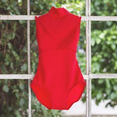 High Neck Bright Red Custom Dancewear Ballet Bodysuit from Luckyleo