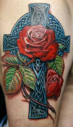 Blue cross with red rose design