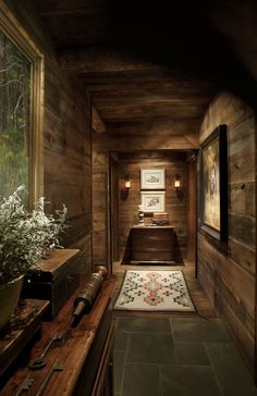hallway filled with treasures (Moose Creek Lodge designed by Miller Architects) Cabin Interiors, Rustic Interiors, Cabin Homes, Log Homes, Log Home Decorating, Timber House, Cabins And Cottages, Rustic Elegance, Interior Exterior