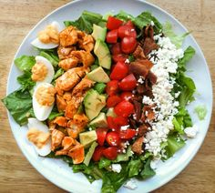Buffalo Chicken Cobb Salad with Buffalo Deviled Eggs Ill Have Seconds! Healthy Fruits, Healthy Foods To Eat, Healthy Eating, Eating Vegan, Vegan Meal Plans, Diet Meal Plans, Keto Meal, Clean Eating Meal Plan, Clean Eating Recipes