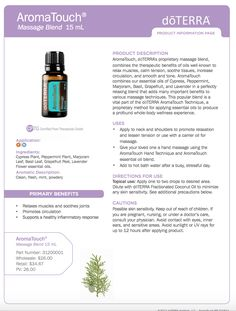 doTERRA AromaTouch Essential Oil ~ To explore and purchase essential oils visit: https://www.mydoterra.com/sarajanelle/#/ or on Facebook https://www.facebook.com/doterrasarajanelle/