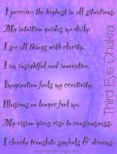Chakra Affirmations : Healing and Energy Work Chakra Affirmations, Positive Affirmations, Chakra Meditation, Mindfulness Meditation, Chakra Heilung, Crown Chakra, Les Chakras, Chakra System, Third Eye Chakra