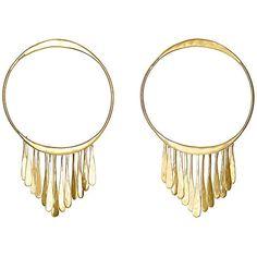 Aurélie Bidermann Vera Fringe Hoops ($405) ❤ liked on Polyvore featuring jewelry, earrings, colorless, 18 karat gold jewelry, fringe jewelry, clear crystal earrings, post earrings and 18k earrings